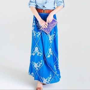 Anthropologie Meadow Rue Ping Embroidered Skirt M